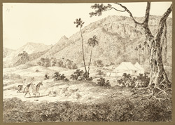 View of the Rajgir Hills from D'Oyly's camp at Rajgir (Bihar). 20 December 1824